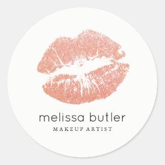 Maquilleur rose chic de lèvres d'or sticker rond