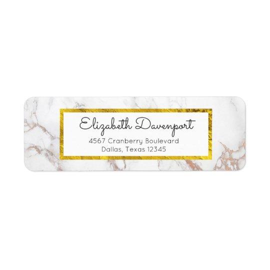 Marbre blanc avec le cadre de feuille d'or de Faux Étiquettes D'adresse Retour