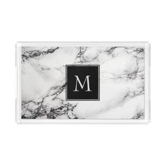 Marbre blanc et noir décoré d'un monogramme plateau en acrylique