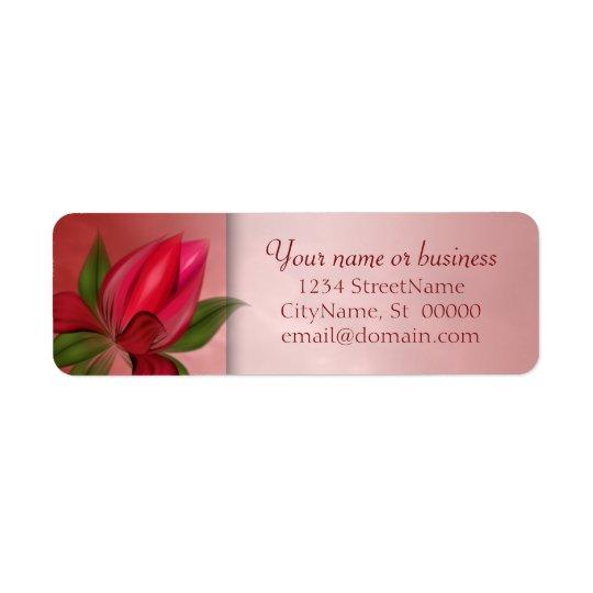 Marbre floral rouge et rose étiquette d'adresse retour