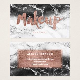 Marbre rose de blanc de noir de typographie d'or cartes de visite