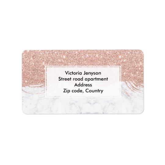 Marbre rose de traçages d'or de scintillement étiquette d'adresse
