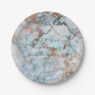Marbre rose d'or d'océan de brosse bleue de rose assiettes en papier