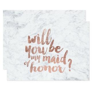 Marbre rose d'or vous serez ma domestique carton d'invitation 8,89 cm x 12,70 cm