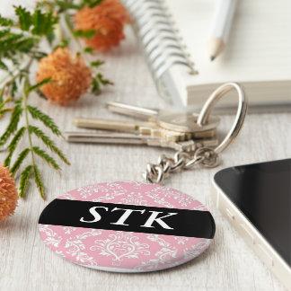 Marchandises roses d'initiales de monogramme porte-clé rond
