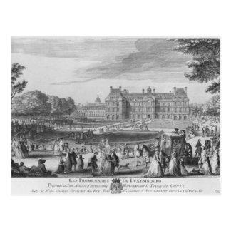 Marchant dans les jardins du luxembourgeois, 1729 carte postale