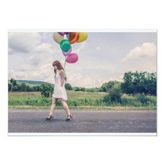 Marche de femme de ballon carton d'invitation  12,7 cm x 17,78 cm