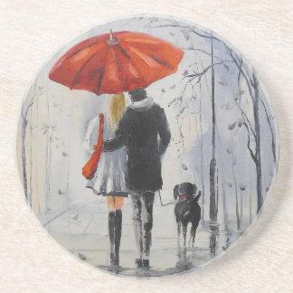 Marche sous la pluie dessous de verres