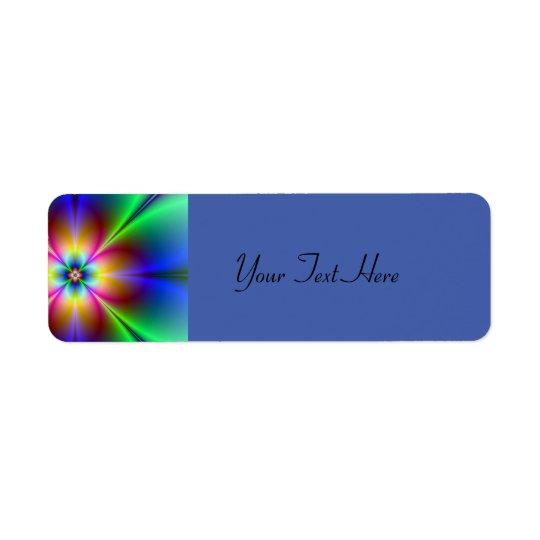 Marguerite au néon colorée étiquette d'adresse retour