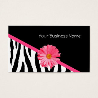 Marguerite de rose de motif de zèbre cartes de visite