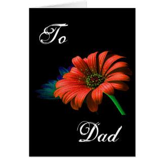 Marguerite orange rouge de fête des pères heureuse carte de vœux