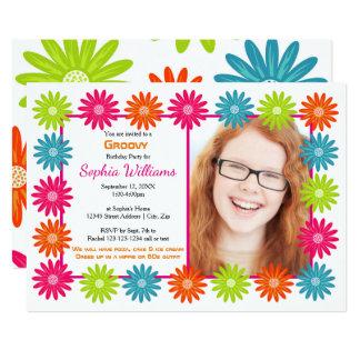 Marguerites colorées - invitation d'anniversaire