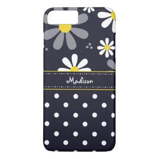 Marguerites Girly et pois de mod avec le nom Coque iPhone 8 Plus/7 Plus