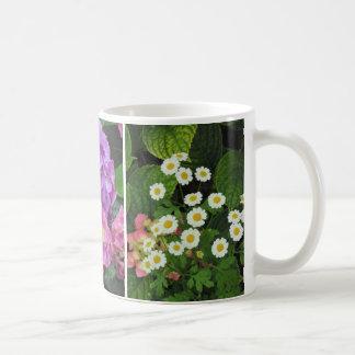 Marguerites, lis, tasse de café d'hortensias