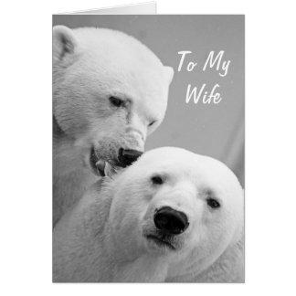 Mari d'ours blancs à la carte d'anniversaire