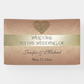 Mariage abstrait d'or de coeur d'or rose élégant banderoles