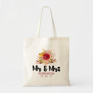 Mariage assez floral de bouquet d'aquarelle sac en toile budget