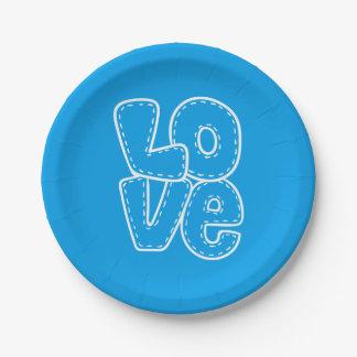 Mariage azuré/partie bleus de rétro amour et assiettes en papier