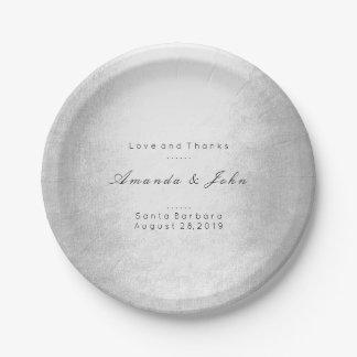 Mariage blanc argenté gris personnalisé par assiettes en papier