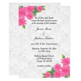 Mariage blanc et invitation florale rose