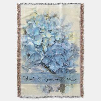 Mariage bleu de fleur d'hortensia couvre pied de lit