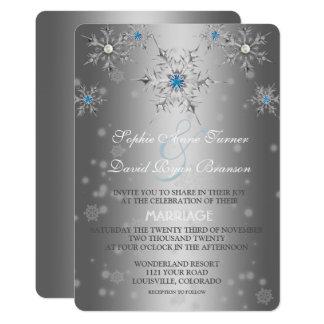 Mariage bleu en cristal de perle de flocons de carton d'invitation  12,7 cm x 17,78 cm