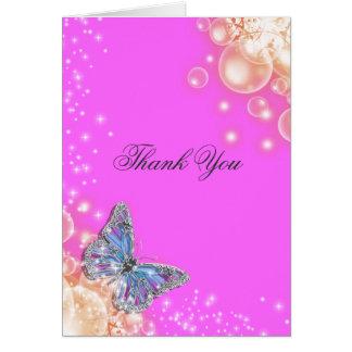 Mariage bleu pourpre rose de papillon carte