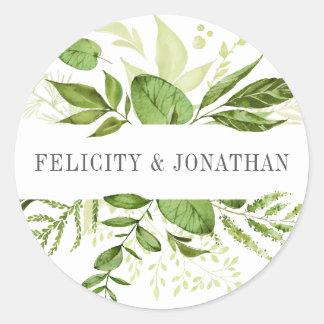 Mariage botanique vert sauvage du pré | sticker rond