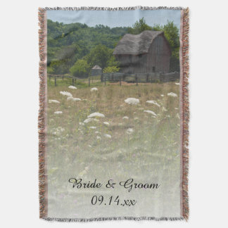 Mariage campagnard patiné de grange couvre pied de lit