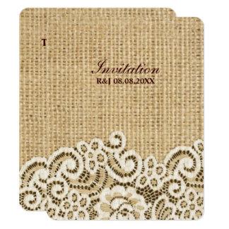 mariage campagnard rustique de dentelle de toile carton d'invitation 10,79 cm x 13,97 cm