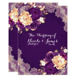 Mariage chic de dentelle élégante pourpre et de carton d'invitation  12,7 cm x 17,78 cm