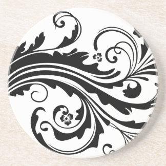 Mariage chic floral noir et blanc dessous de verres
