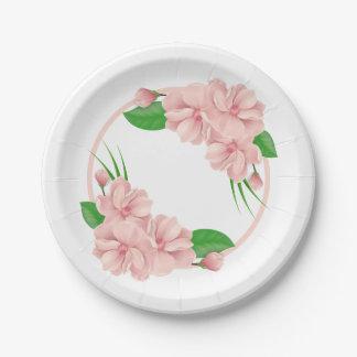 Mariage chic minable/partie de fleurs roses assiettes en papier