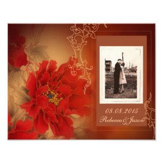 Mariage chinois de pivoine rouge vintage impressions photographiques
