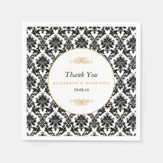 Mariage damassé d'or, noir et blanc vintage serviette en papier