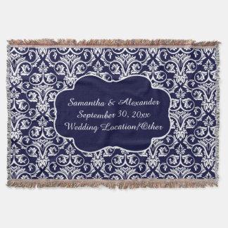 Mariage damassé personnalisé/bleu marine de couvre pied de lit