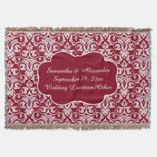 Mariage damassé personnalisé/rouge foncé coutume couvre pied de lit