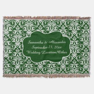 Mariage damassé personnalisé/vert coutume de couvre pied de lit