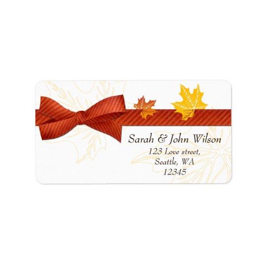mariage d'automne, étiquette de adresse de retour
