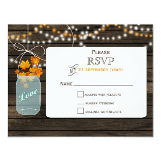 Mariage de automne RSVP de pot de maçon de Invitations