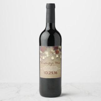 Mariage de automne rustique de feuille d'érable et étiquette pour bouteilles de vin