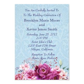Mariage de bouquet floral de rose et de Bourgogne Carton D'invitation 12,7 Cm X 17,78 Cm