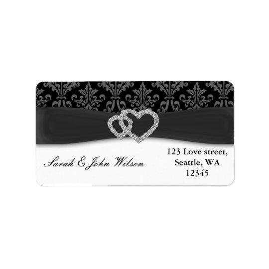 mariage de charbon de bois de damassé de diamante étiquette d'adresse