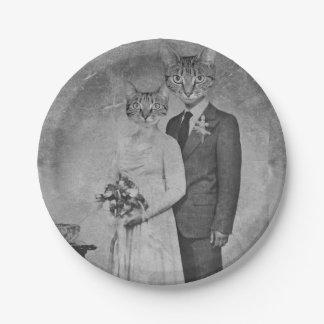 Mariage de chat assiettes en papier