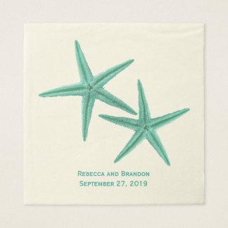 Mariage de couples d'étoiles de mer de vert bleu serviette jetable