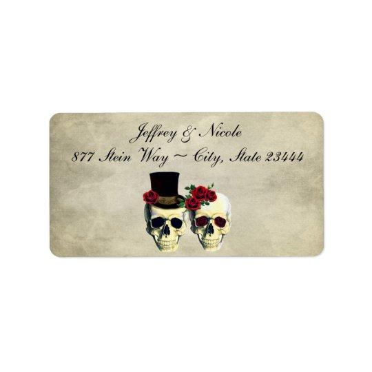 Mariage de crâne de jeune mariée et de marié étiquette d'adresse