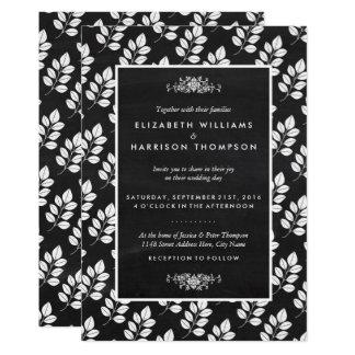 Mariage de feuille florale de tableau carton d'invitation  12,7 cm x 17,78 cm