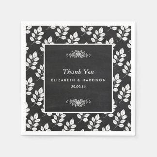 Mariage de feuille florale de tableau serviettes en papier