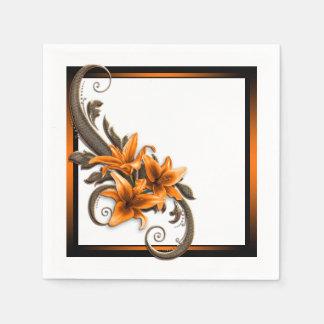Mariage de lis tigré serviettes en papier