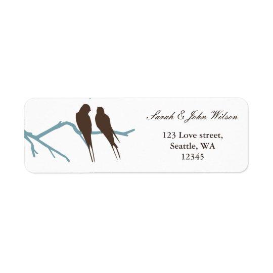 mariage de moka de perruches, étiquette de adresse